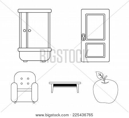 Door, Shower, Coffee Table, Armchair.furniture Set Collection Icons In Outline Style Vector Symbol S