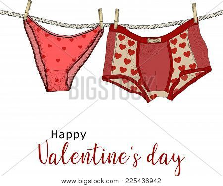 Women's  Panties And Men's Boxer Briefs In The Patterns Of Hearts. Underwear On Rope With Clothespin