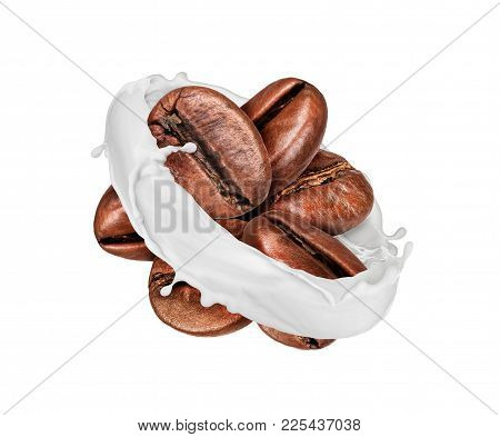 Coffee Beans Are Surrounded By A Milk Splashes