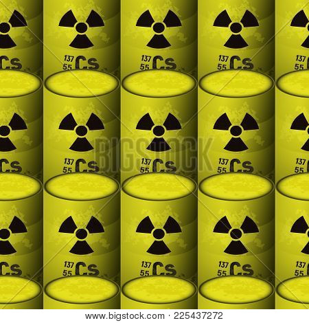 Yellow Barrels Of Radioactive Toxic Waste. Seamless Pattern Background. Chemical Sign Of Danger. Ces