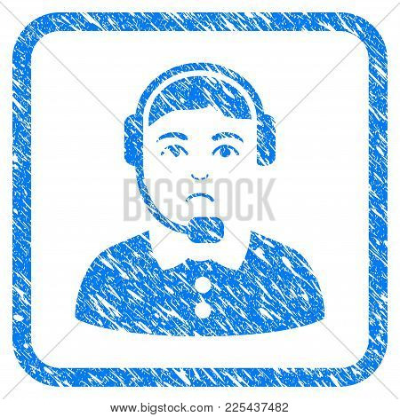 Call Center Operator Rubber Seal Stamp Watermark. Icon Vector Symbol With Grunge Design And Dirty Te