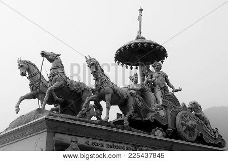 Rishikesh, India - November, 4th, 2017. View Of Monument In Parmath Niketan Ashram, Rishikesh