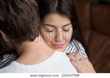Relieved Happy Woman Hugging Man, Grateful Wife Embracing Caring Loving Husband Thanking For Help Su