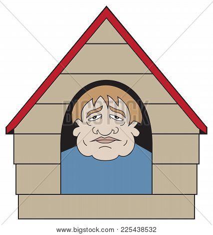 An Unhappy Cartoon Man Has Found Himself In The Dog House