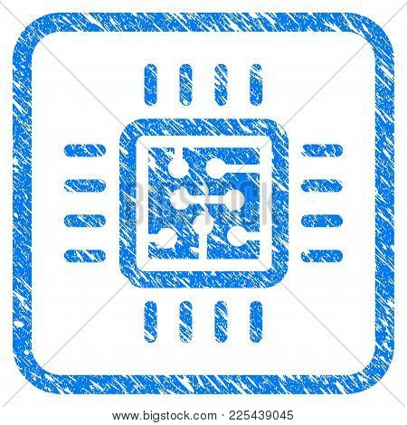 Cpu Circuit Rubber Seal Stamp Watermark. Icon Vector Symbol With Grunge Design And Dirty Texture In