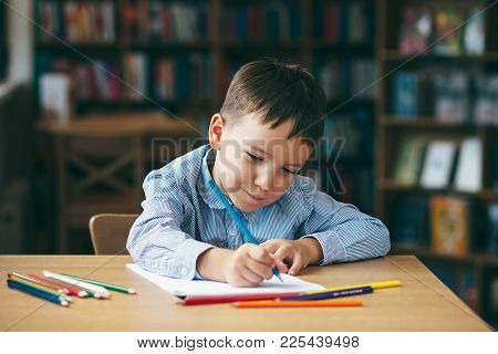 Cute  Boy Doing Homework,  Coloring Pages, Writing And Painting. Children Paint. Kids Draw. Preschoo