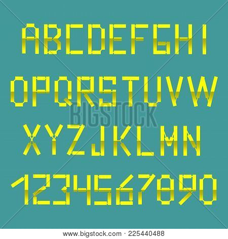 Bright Yellow Alphabet In The Style Of The Postal Font. English, French Or Portuguese Alphabet.