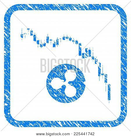 Candlestick Chart Ripple Fall Rubber Seal Stamp Imitation. Icon Vector Symbol With Grunge Design And