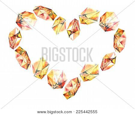 Romantic Heart With Watercolor Painted Gems - Diamond Crystals. Hand Painted Decorative Element.