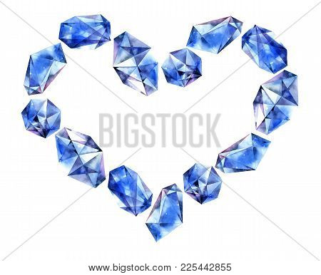 Romantic Heart With Watercolor Painted Gems - Saphir Diamond Crystals. Hand Painted Decorative Eleme
