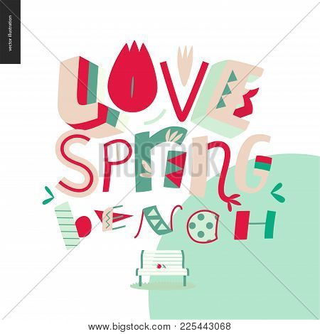 Love, Spring, Bench Fun Lettering On The White Background