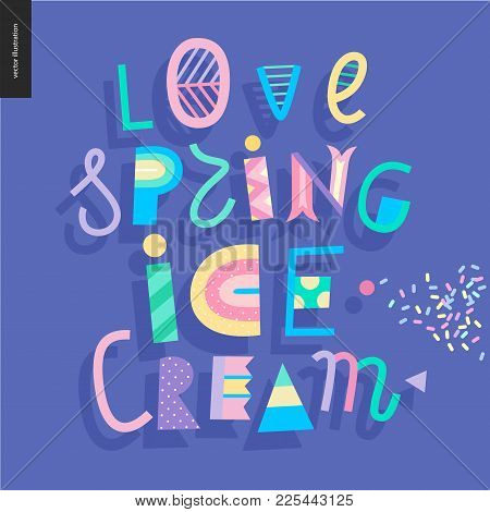 Love Spring Ice Cream Lettering And Sprinkle