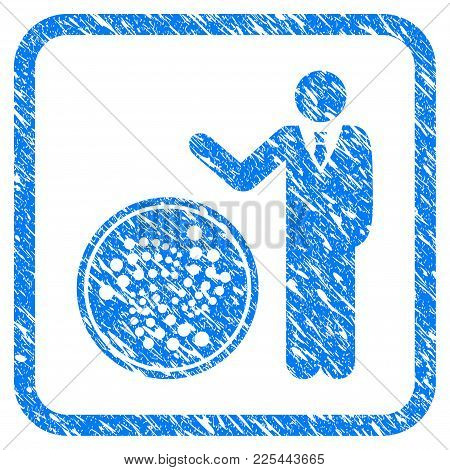 Businessman Show Iota Coin Rubber Seal Stamp Imitation. Icon Vector Symbol With Grunge Design And Un