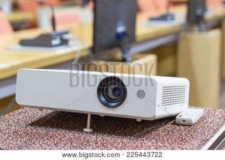 Projector For Presentations In A Meeting Room, Business Concept.