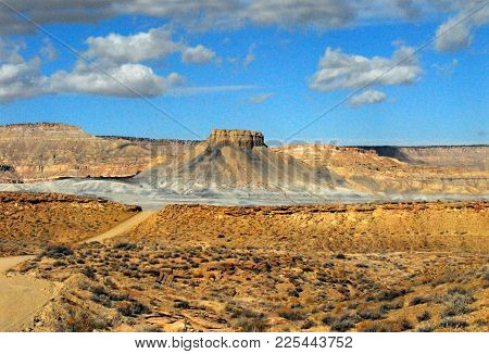 A wide angled, distant panorama of a beautiful mountaneous landscape in the wilderness of the Arizona desert