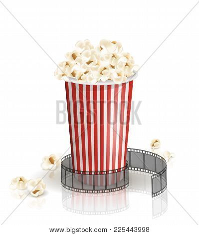 Filmstrip Rolled Around The Full White-and-red Striped Bucket Of Popcorn. Vector Illustration. Objec