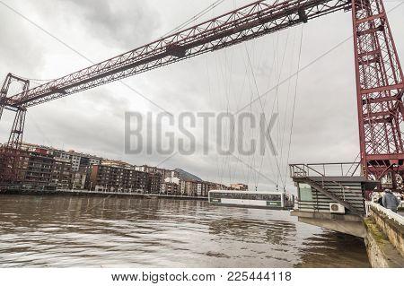 Getxo,spain-january 12,2017:vizcaya Bridge, Puente Colgante View From Getxo,basque Country,spain.