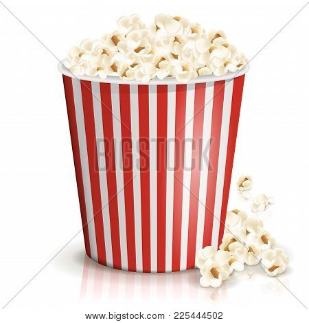 A Full Red-and-white Striped Bucket Of Fluffy Popcorn Isolated On The White Background. Vector Illus