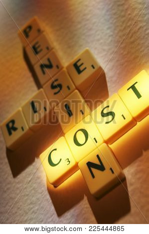 Cleckheaton, West Yorkshire, Uk: Scrabble Board Game Letters Spelling The Words , 1st June 2006, Cle