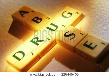 Cleckheaton, West Yorkshire, Uk: Scrabble Board Game Letters Spelling The Words Druge Abuse, 1st Jun