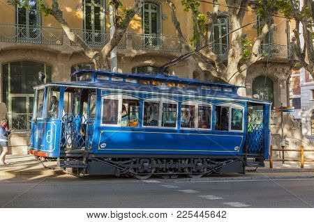 Barcelona,spain-may 20,2017:touristic Tram Tibidabo, Tramvia Blau, Blue Tramway, Barcelona.