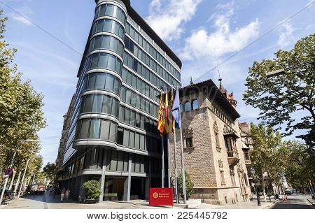 Barcelona,spain-august 13,2017:modern And Ancient Architecture,can Serra Palace By Josep Puig I Cada