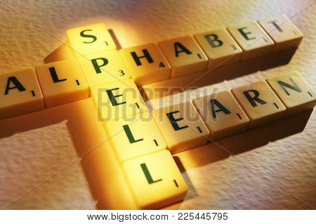 Cleckheaton, West Yorkshire, Uk: Scrabble Board Game Letters Spelling The Words Alphabet Spell Learn
