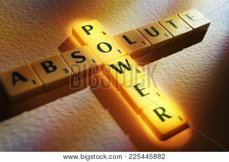 Cleckheaton, West Yorkshire, Uk: Scrabble Board Game Letters Spelling The Words Absolute Power, 1st