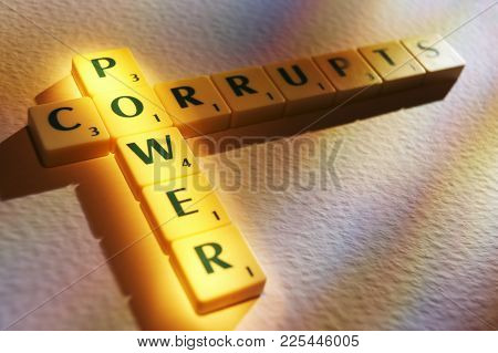 Cleckheaton, West Yorkshire, Uk: Scrabble Board Game Letters Spelling The Words Power Corrupts, 1st