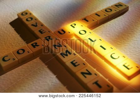 Cleckheaton, West Yorkshire, Uk: Scrabble Board Game Letters Spelling The Words Government Corruptio