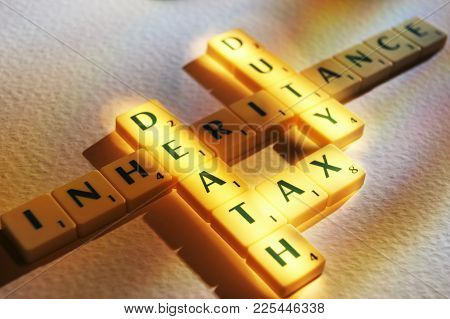Cleckheaton, West Yorkshire, Uk: Scrabble Board Game Letters Spelling The Words Death Tax Duty Inher
