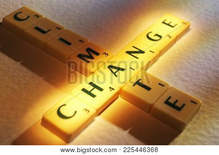 Cleckheaton, West Yorkshire, Uk: Scrabble Board Game Letters Spelling The Words Climate Change, 1st