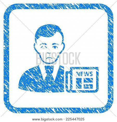 Businessman News Rubber Seal Stamp Imitation. Icon Vector Symbol With Grunge Design And Corrosion Te