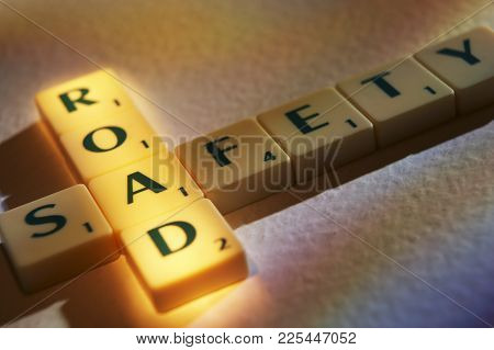 Cleckheaton, West Yorkshire, Uk: Scrabble Board Game Letters Spelling The Words Road Safety, 1st Jun