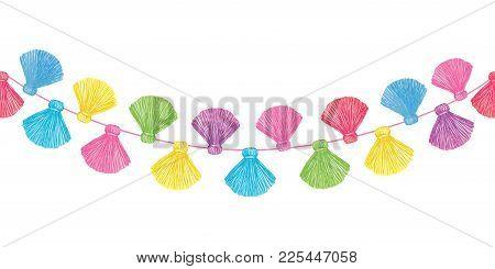 Vector Colorful Decorative Tassels Set Horizontal Seamless Repeat Border Pattern. Great For Handmade