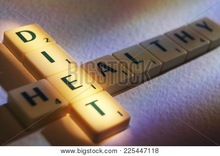 Cleckheaton, West Yorkshire, Uk: Scrabble Board Game Letters Spelling The Words Diet Healthy, 1st Ju