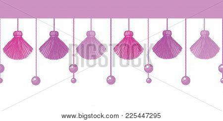 Vector Fun Pink Decorative Tassels Set Horizontal Seamless Repeat Border Pattern. Great For Handmade