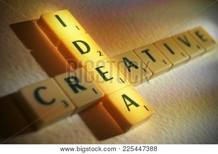 Cleckheaton, West Yorkshire, Uk: Scrabble Board Game Letters Spelling The Words Creative Idea, 1st J