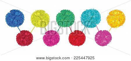 Vector Set Of Happy Colorful Birthday Party Paper Pom Poms. Great For Handmade Cards, Invitations, W