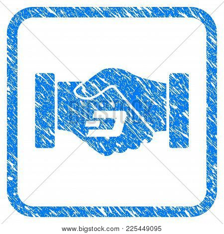 Dash Contract Hands rubber seal stamp watermark. Icon vector symbol with grunge design and corrosion texture inside rounded square frame. Scratched blue emblem on a white background. poster