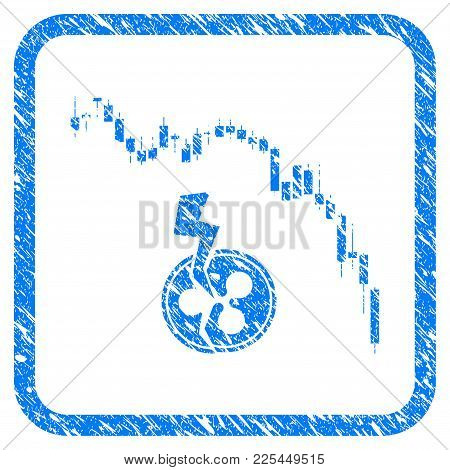 Candlestick Chart Ripple Crash Rubber Seal Stamp Imitation. Icon Vector Symbol With Grunge Design An