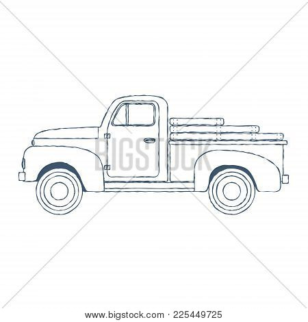 Vintage Retro Pickup Truck Isolated On White Background. Vector Illustration