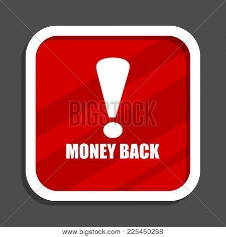 Money back icon. Flat design square internet banner.