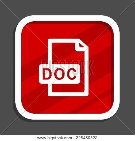 Doc file icon. Flat design square internet banner.
