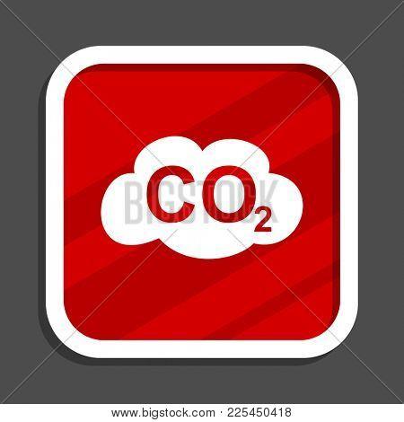 Carbon dioxide icon. Flat design square internet banner.