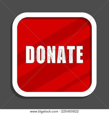 Donate icon. Flat design square internet banner.