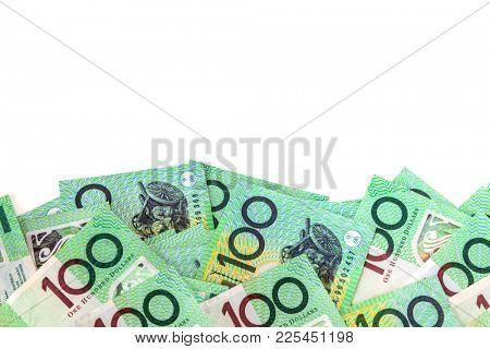 Australian money border over white background.  One hundred dollar notes.