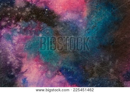 Watercolor Painting Space Background, Abstract Galaxy Watercolor Hand Painting,cosmic Night With Sta