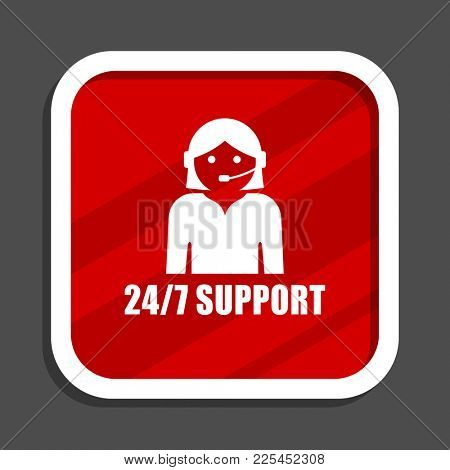 24/7 support icon. Flat design square internet banner.