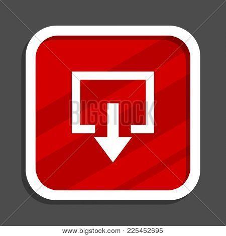 Exit icon. Flat design square internet banner.